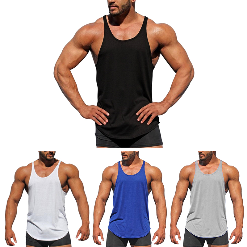 Muscleguys Bodybuilding Mens Stringer Tank Tops Fashion Solid Sleeveless Shirt Gyms Singlets Fitness Clothing Cotton Workout Str