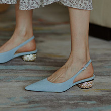 Light Blue denim Women Slingback Pumps Pointed Toe Summer Sandals Pearl Crystal Med Heels Chic Office Lady Working Shoes Woman