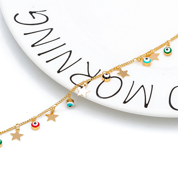 EVIL EYE Star Charm Anklet Bracelet Gold Color Foot Chain Adjustable Turkish Eye Ankle Fashion Jewelry for Women Female EY6502 3