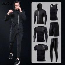 กีฬาชายการบีบอัดชุดกีฬาHoodedสะท้อนTracksuitsกีฬาJoggersการฝึกอบรมFitness Gymเสื้อผ้าทำงานชุดผู้ชาย