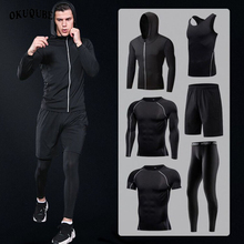 Sportswear Man Compression Sport Suits Hooded Reflective Tracksuits Sports Joggers Training Fitness Gym Clothes Running Set Men