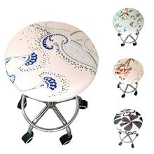 New Round Chair Cover Bar Stool Cover Elastic Seat Cover Home Chair Slipcover Round Chair Bar Stool Floral Printed Seat Cushions colorful famille rose ceramic round seat stool