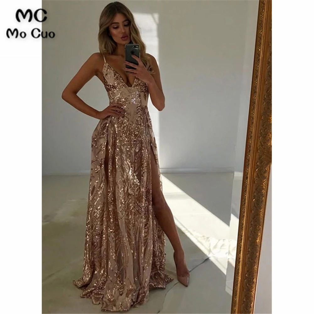 Sparkly Long   prom     dress   2019 Evening   Dress   vestido de festa Spaghetti Straps Side Slit Sequins Women   prom     dresses