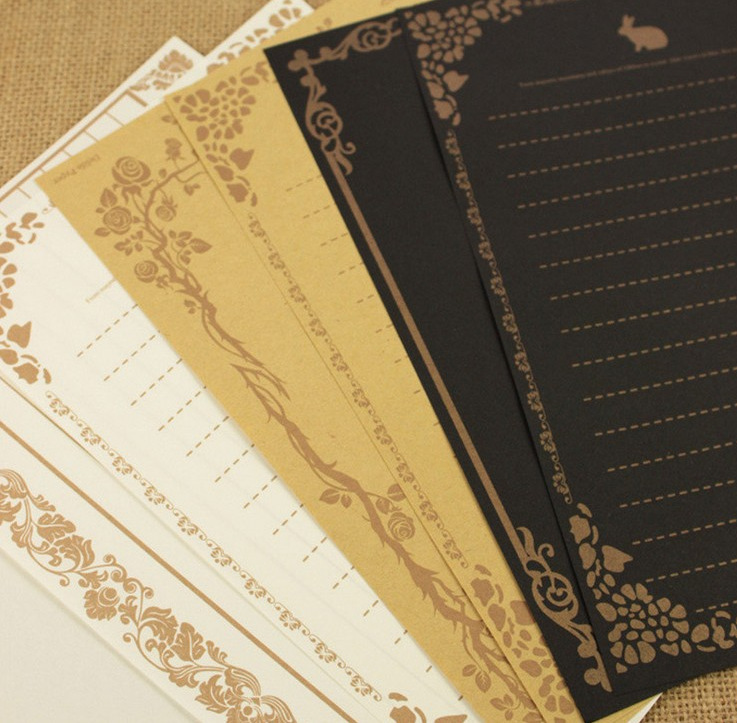 8 Pieces/set European Vintage Style Writing Paper Letter High Quality Cards Letters Three Colors For Writing