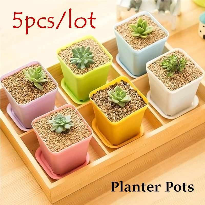 5 Pcs 3 Pc Plastik Persegi Bunga Pot Nampan Kantor Dekorasi Taman