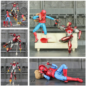"Image 1 - Spider Homecoming 6"" Action Figure Holland Avenger Iron Man Ironman MK47 Mark47 KOs SHF Legends Toys Doll Model"