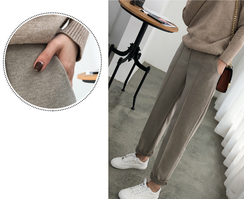H65b406a37a7949c9a89ddbc16bd02c62k - Thicken Women Pencil Pants Autumn Winter Plus Size OL Style Wool Female Work Suit Pant Loose Female Trousers Capris 6648 50