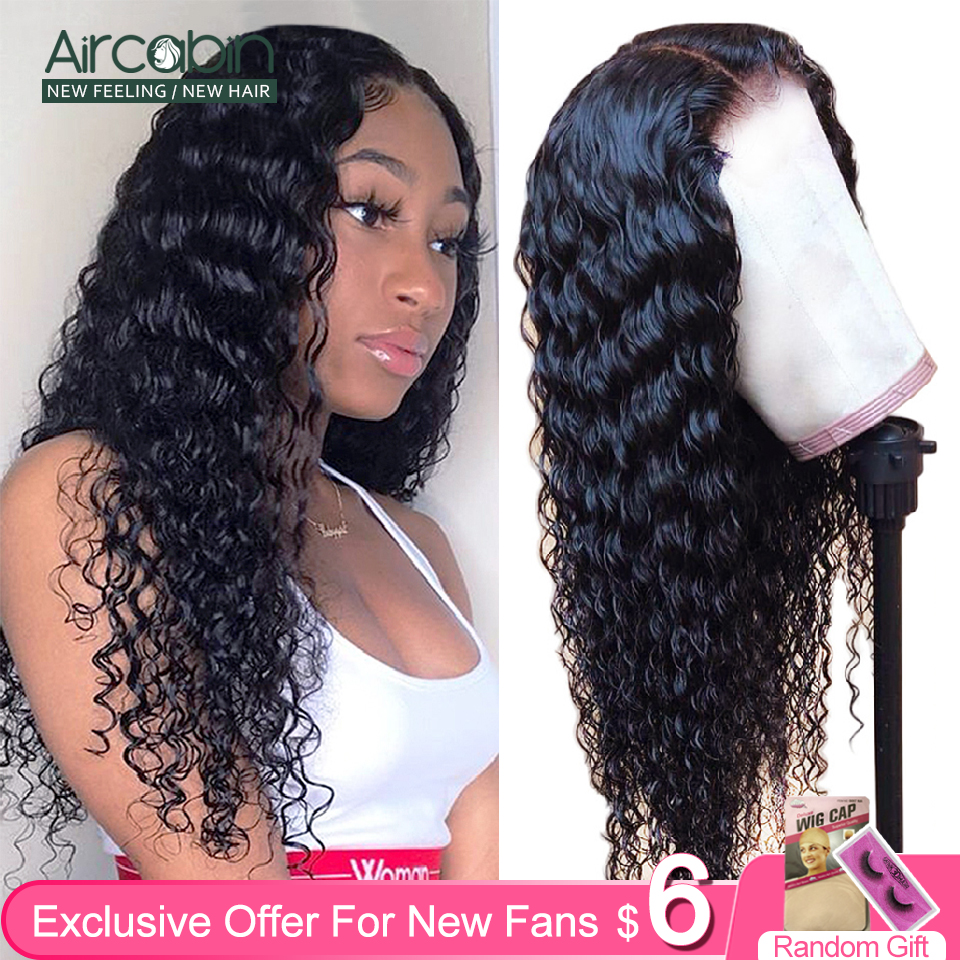 Aircabin 30 Inch Deep Wave 13x4 Lace Front Wigs Brazilian 150 High Density Human Hair Lace Closure Wigs For Black Women Non-Remy