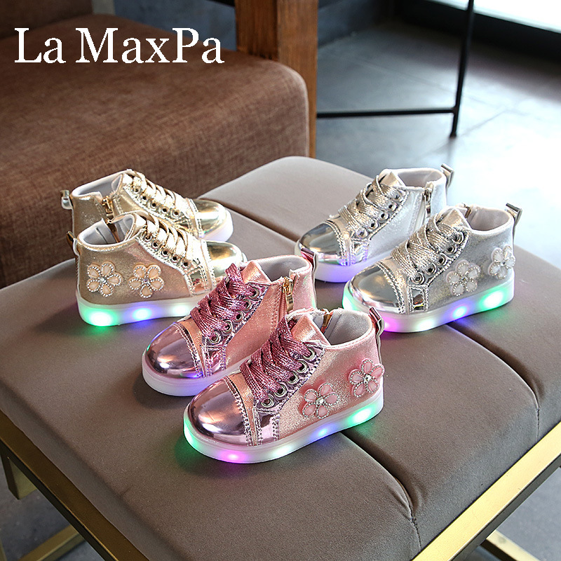 Luminous Sneaker for Girls Glowing Sneakers Shoes for Baby Girls Children's Shoes Girls Shoes with Luminous Sole Fashion|Sneakers| |  - title=