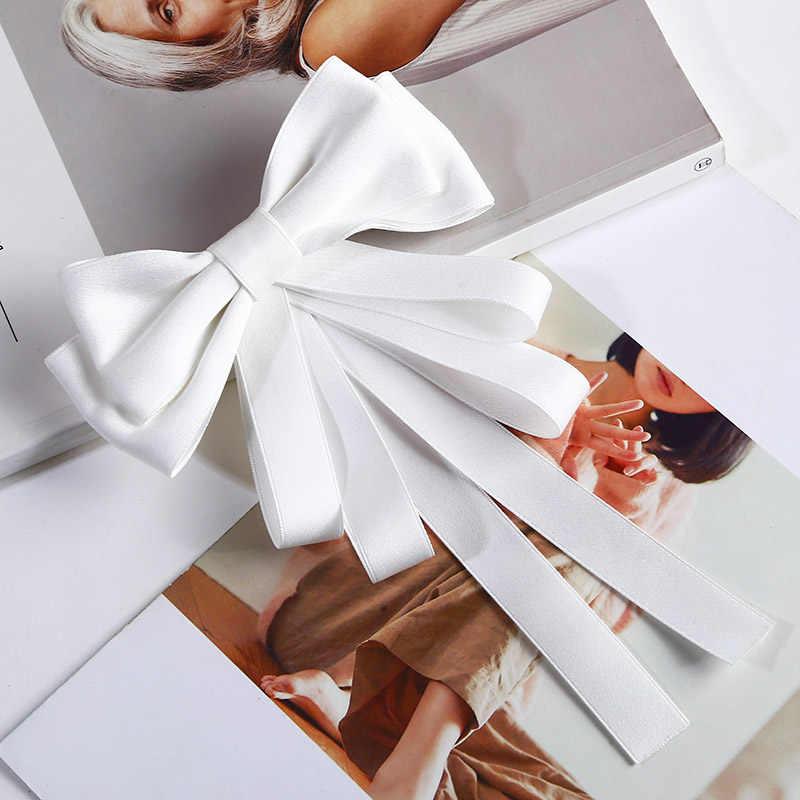女性ブローチロングリボンビッグストライプちょう結びシャツの弓ネクタイピン襟アクセサリーブローチジュエリー