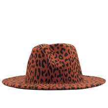 Fashion leopard Women Men Wool Fedora Hat  Elegant Lady Winter Autumn Wide Brim Jazz Church Panama Sombrero Cap