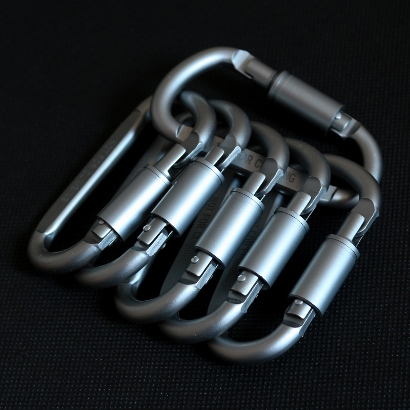 5pcs Outdoor Camping Equipment Aluminum Carabiner Hunting Equipment Survival Kit Lock Tool