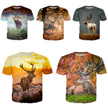 Cerf t-shirt mode hommes femmes antilope sweat 3D impression Animal à manches courtes Hip Hop haut O cou pull C087-04(China)