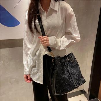 Ladies Fashion Flower Pattern Handbags Elegant Women Bucket Bags High-quality Shoulder Messenger Bags Convenient Tote Package