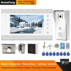 HomeFong przewodowy wideodomofon z blokadą drzwi do domu domofony zestaw systemu kontroli dostępu wykrywanie ruchu nagrywanie Night Vision 32GB