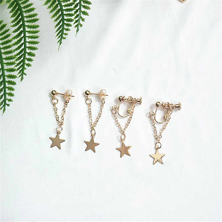 Fashionable Simple Creative  Five-pointed Star Pendant Earrings for Girls Women Lady Many Occasions All Use More Color Choose