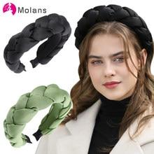 MOLANS katı yastıklı örgüler bantlar ipek Faille tüm büküm detaylandırma Hairbands zarif kız Giselle örgülü kafa bantları