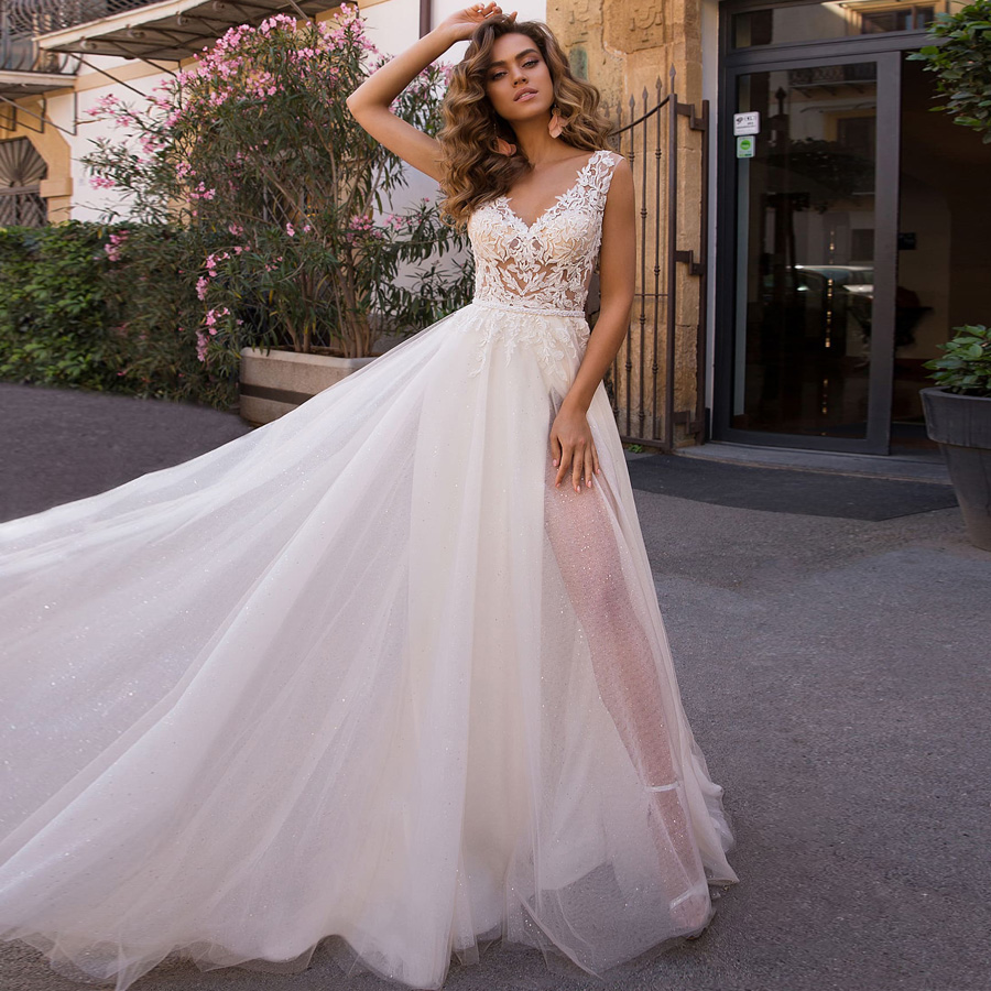 Booma Sexy V-neck A-line Wedding Dresses Sleeveless Backless Shiny Tulle Elegant Lace Appliqued Princess Bridal Gowns With Slit