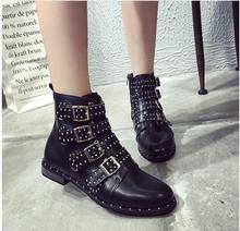 Rivets Faux Leather Booties Buckle Straps Thick Heel Black Ankle Women Boots Studded Decorated Woman Motorcycle