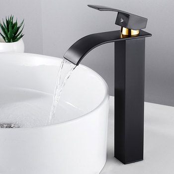 Luxury Bathroom Waterfall Faucet Antique Sink Brass Wide Flowing Hot and Cold Mixer Tap Deck Mounted Basin Torneira Contemporary 10