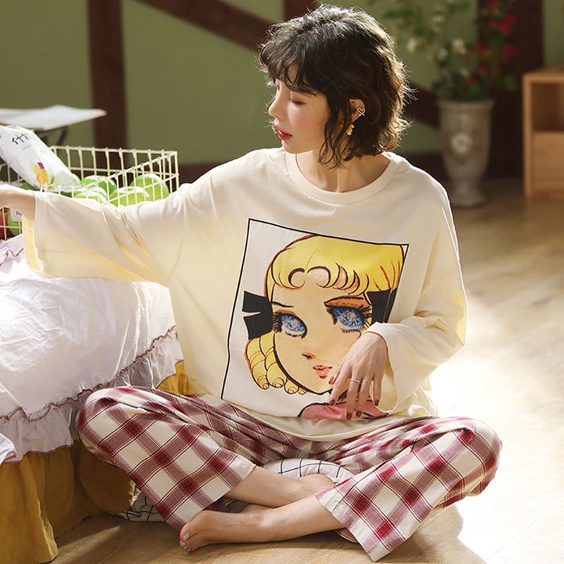 Pajamas Women's Spring New Style Long Sleeve Loose-Fit Cotton Korean-style Cute Set Cotton Autumn WOMEN'S Home Clothes