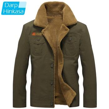 DARPHINKASA 2020 Winter Bomber Jacket Men Air Force Pilot Jacket Warm Men Fur Collar Men Army Tactical Fleece Jacket