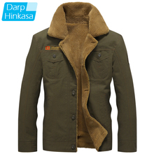 DARPHINKASA 2020 Winter Bomber Jacket Men Air Force Pilot Jacket Warm Men Fur Collar Men Army Tactical Fleece Jacket
