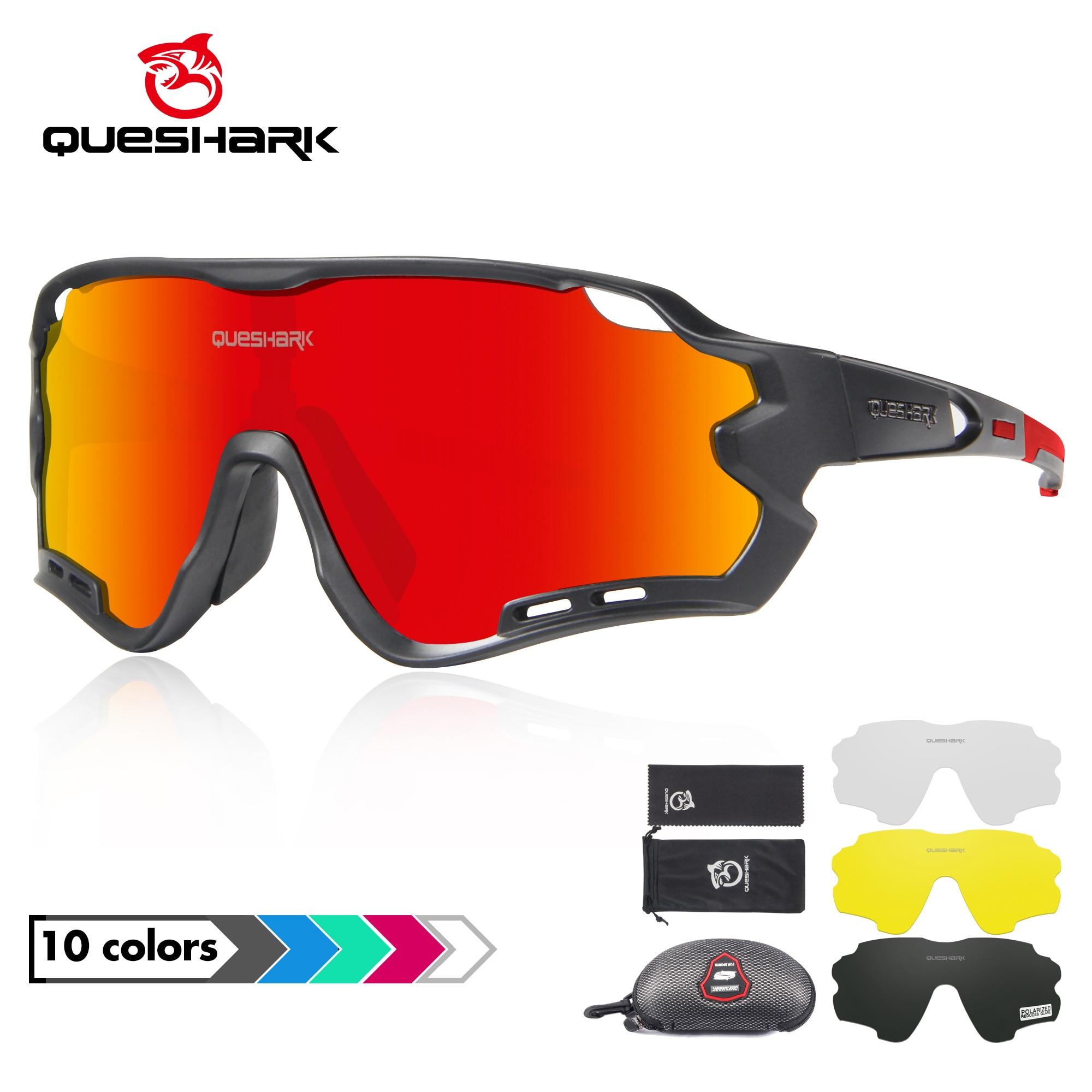 QUESHARK 4 Lens Cycling Glasses Bicycle Goggles for Men Women Polarized Cycling Eyewear UV400 Road MTB Bike Sunglasses QE44 1