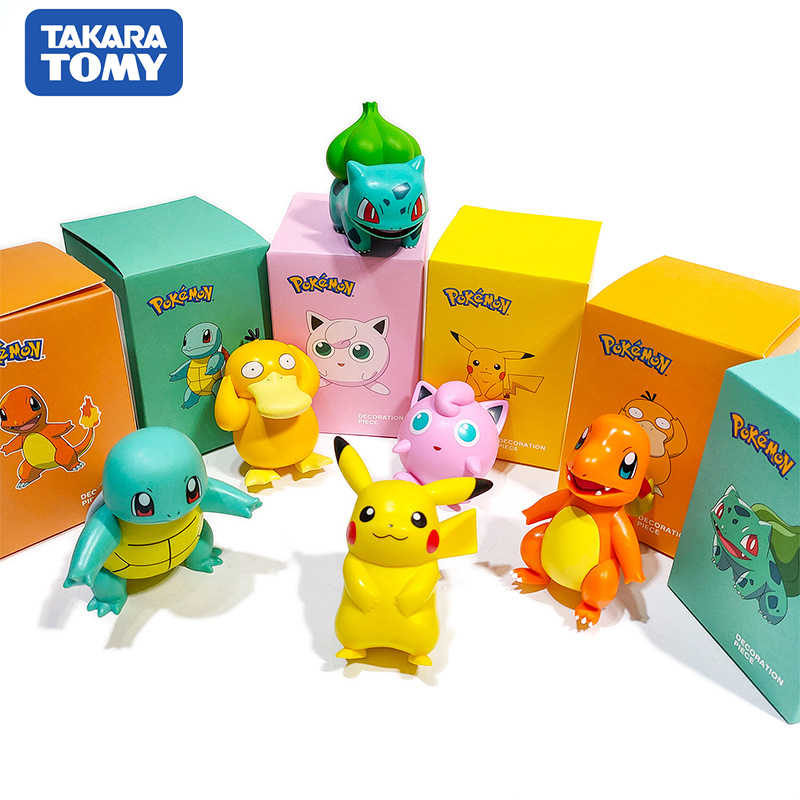 POKEMON Charmander Cleffa Pikachu Bulbasaur Squirtle Psyduck Pocket Monster Poke Model Action Figure One Piece Mainan untuk Anak-anak Hadiah