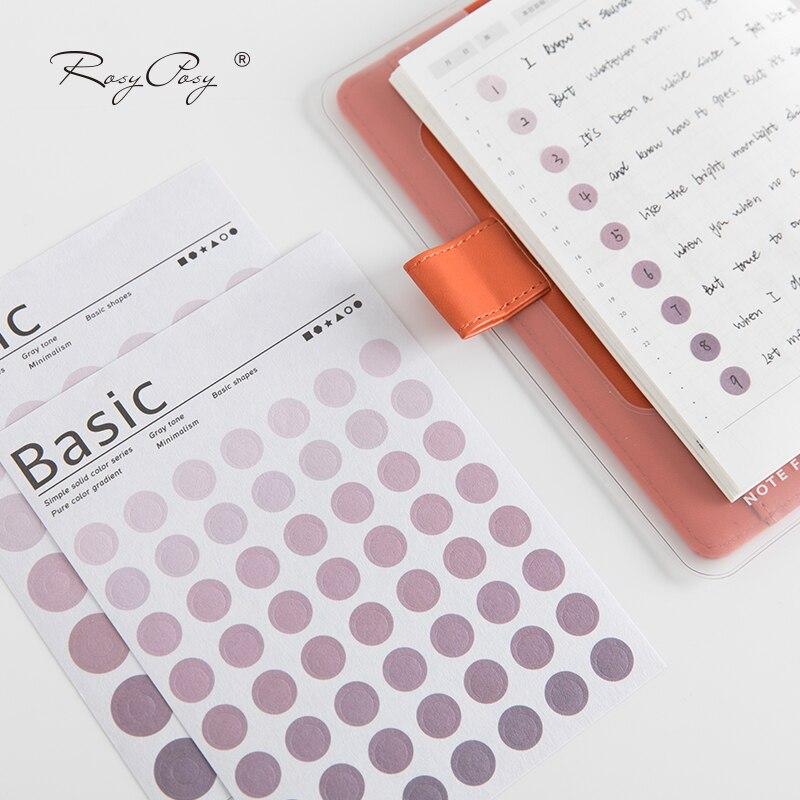 JIANWU Simple 6 Color Feature Circle Index Sticker Calendar Remarks Planner Sticker Decorative Paper Sticker School Supplies