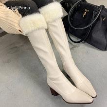 Очень пикантные женские белые сапоги выше колена ботинки на