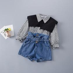 2-7 anos de alta qualidade primavera menina conjunto de roupas 2021 nova moda casual dot camisa + jeans curto criança meninas roupas