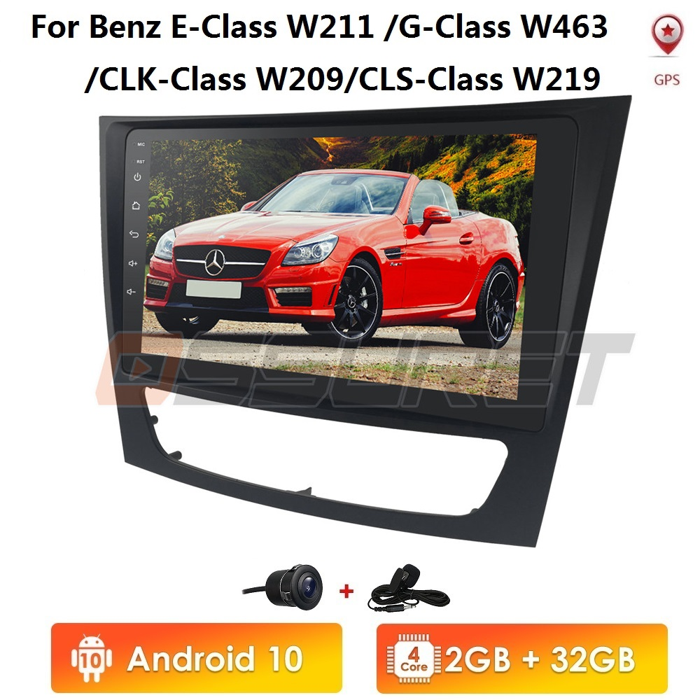 Android 10 Car <font><b>GPS</b></font> Stereo Unit Player For 2001 2002 2003-2010 <font><b>Mercedes</b></font> Benz E-Class <font><b>W211</b></font>/CLS W219/CLK W209/G-Class W463 2GB+16GB image
