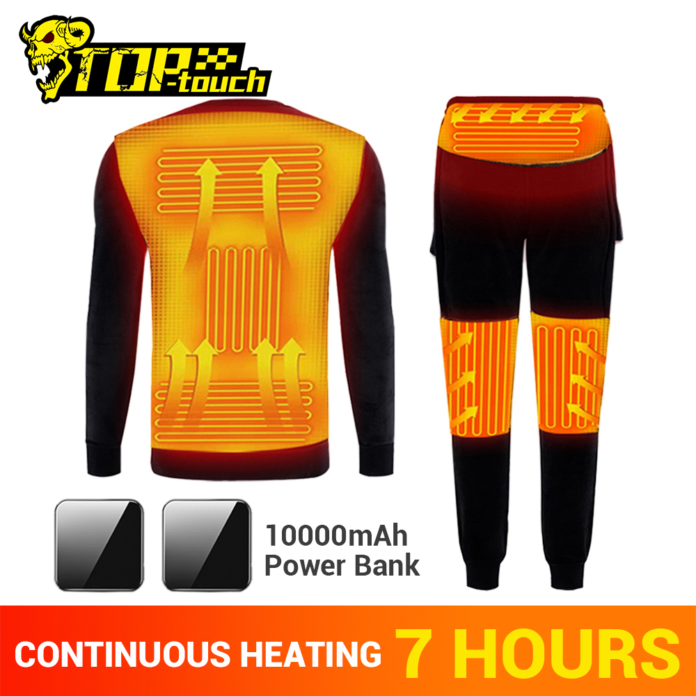 NEW Winter Heating Underwear Set Motorcycle Jacket Moto Motorbike USB Electric Heated Fleece Thermal Long Johns Tops&Pants
