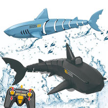 RC Simulation Shark Toys 2.4G Waterproof Electronic Remote Control Shark Robot Boat Funny Swimming Pool Prank Toy For Children
