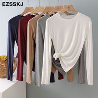 autumn winter bottom cotton long sleeve o-neck T Shirt Women long Sleeve casual basic T shirt solid Color Tee top Female top 1