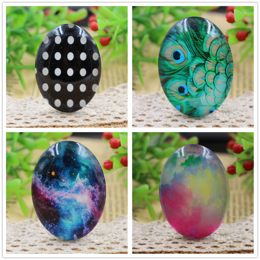 2pcs 30x40mm New Fashion Color 4 Style Handmade Photo Glass Cabochons Pattern Domed Jewelry Accessories Supplies