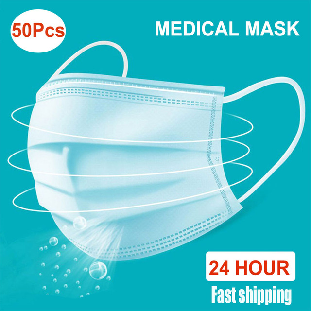 50 sztuk/paczka jednorazowe maska medyczna zaczep na ucho wodoodporna maski maska ochronna na twarz