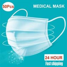 50 unidades/pacote máscara médica descartável earloop máscaras à prova dwaterproof água boca máscara facial