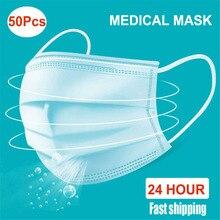 Masque médical jetable, protection pour le visage et la bouche, imperméable, boucles auriculaires, paquet de 50 pièces