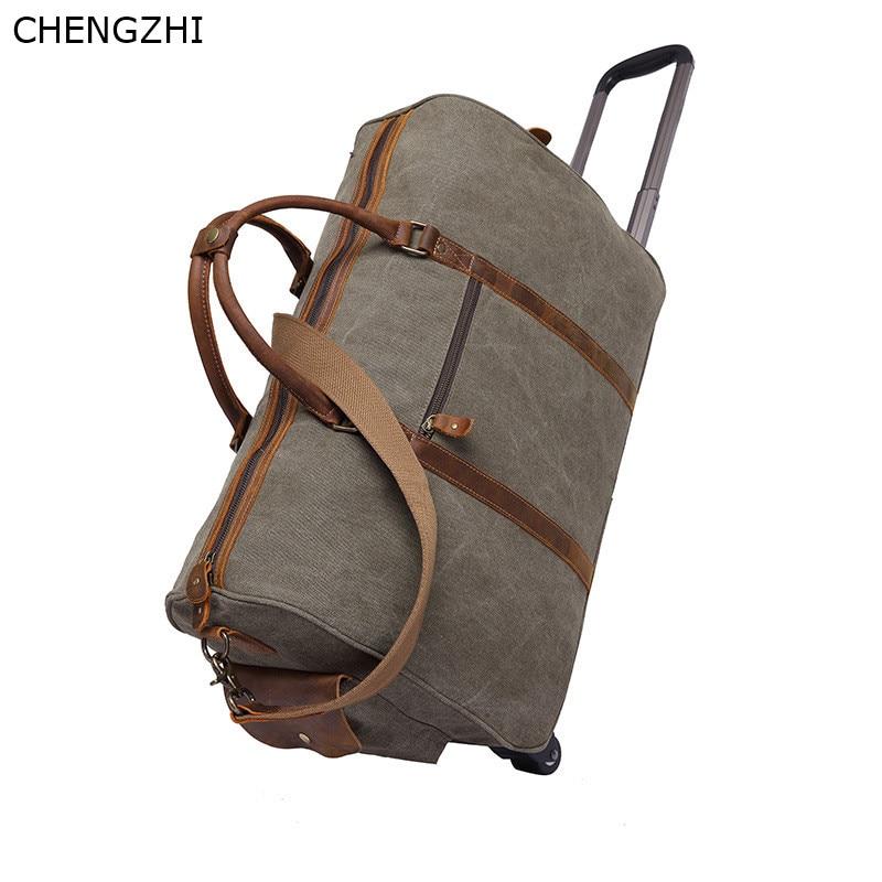 Bolso de viaje con ruedas de cuero y Caballo loco para hombre, bolso de mensajero portátil retro multifunción, bolso de viaje de lona para hombre