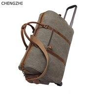 CHENGZHI Crazy horse leather trolley travel bag retro multi function portable Messenger bag men's canvas travel duffle