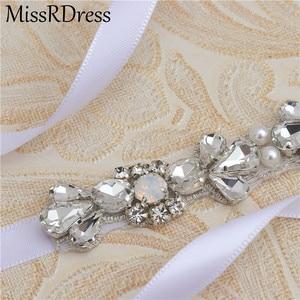 Image 5 - MissRDress Opalen Bruids Riem Zilveren Kristallen Dunne Trouwjurk Riem Steentjes Wedding Sash Voor Vrouwen Prom Gown JK977