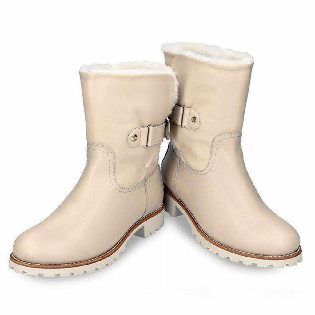 2019 kış yeni kar botları bayan botları kadın rahat ayakkabılar kadın sıcak botlar yuvarlak Toe Slip-On kare topuklu vintage ayakkabı #1019