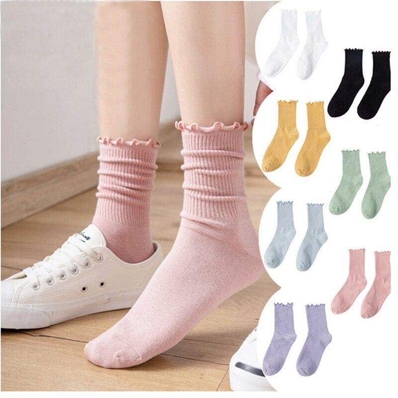 Dreamlikelin Female Spring Autumn Cotton Ruffles Socks Sweet Girl Japanese College Style Socks