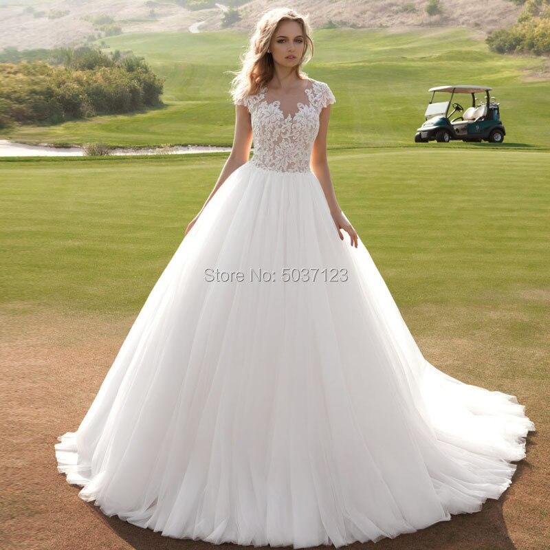 A Line Tulle Wedding Dresses Vestido De Noiva O Neck Cap Sleeves Court Train Lace Appliques Button Satin Bridal Gowns