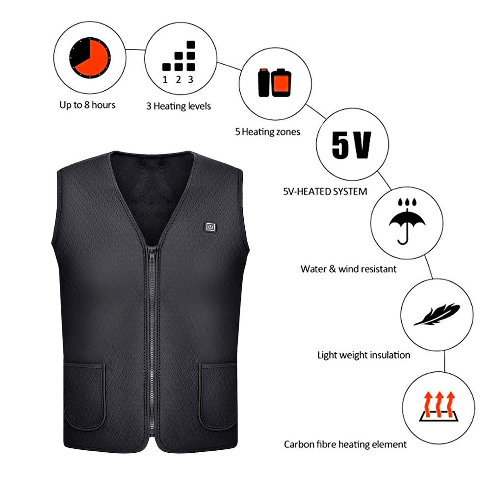 Women Men Outdoor USB Infrared Heating Vest Jacket Winter Electric Thermal Clothing Waistcoat Sports Hiking