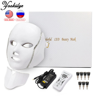 7 Colors Light LED Facial Photon Therapy Beauty Machine With Neck Skin Rejuvenation Face Care Anti Acne Whitening Instrument