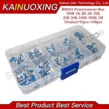 10values *10pcs RM065 Vertical Adjustable Resistor Kit In Box 500 ohm-1M ohm 065 Multiturn Trimmer Potentiometer Set