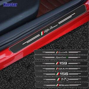 4pcs Carbon fiber Car Door Sticker For Alfa Romeo Giulia Giulietta 159 156 MITO Stelvio 147 Sportiva Auto Accessories